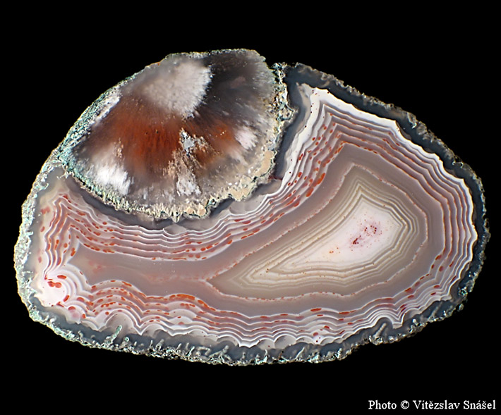 Perfect banded and colorful agate nodule from Studenec in Czech Republic