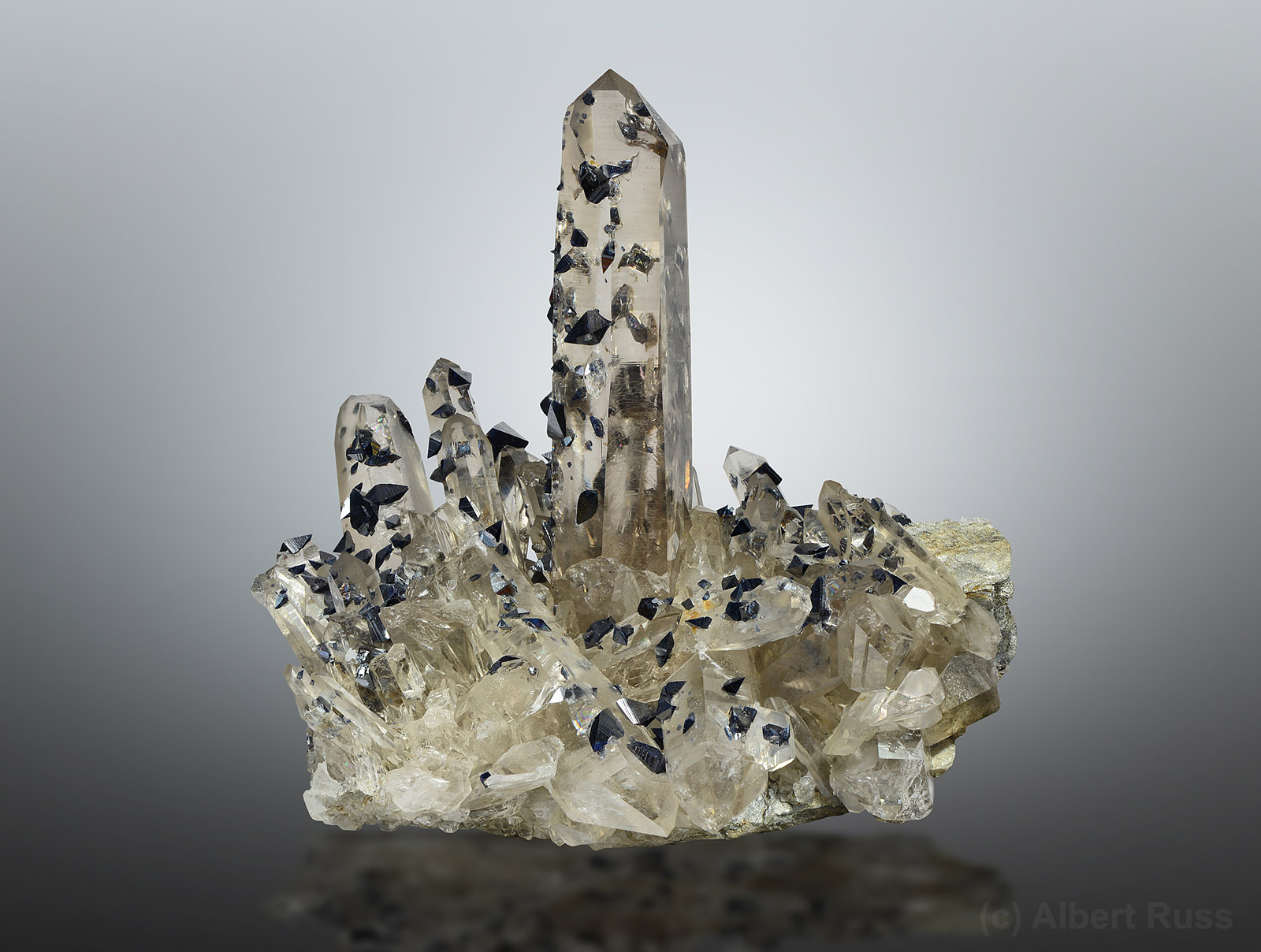 Clear quartz cluster covered by dozens of anatase crystals from Hardangervidda, Norway