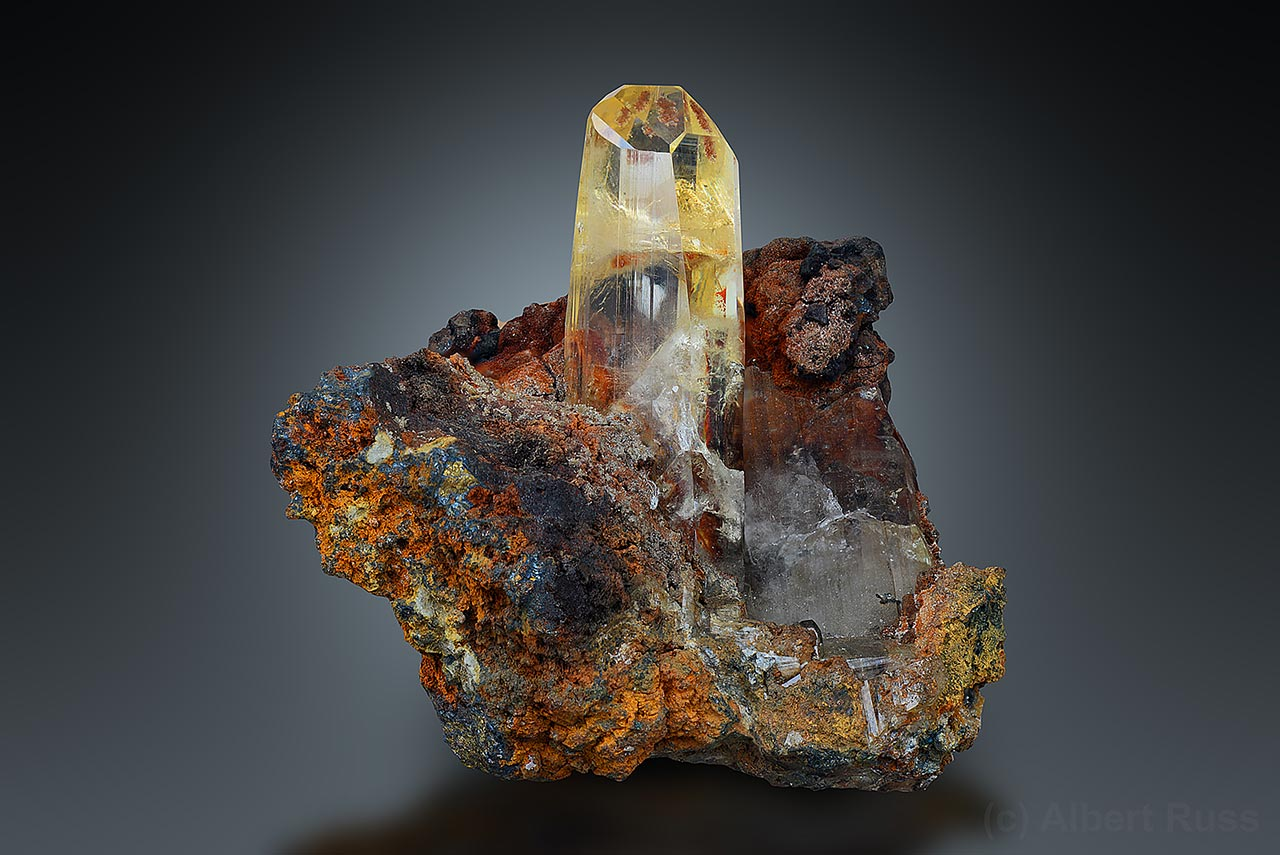 Perfect anglesite crystal on matrix from Toussit, Oujda-Angad, Morocco