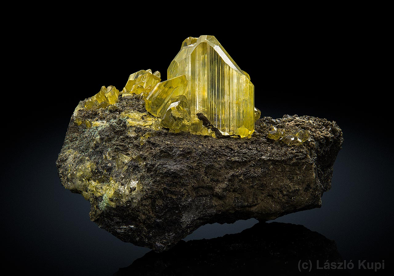 Yellow anglesite crystals on galena from Toussit, Oujda-Angad, Morocco