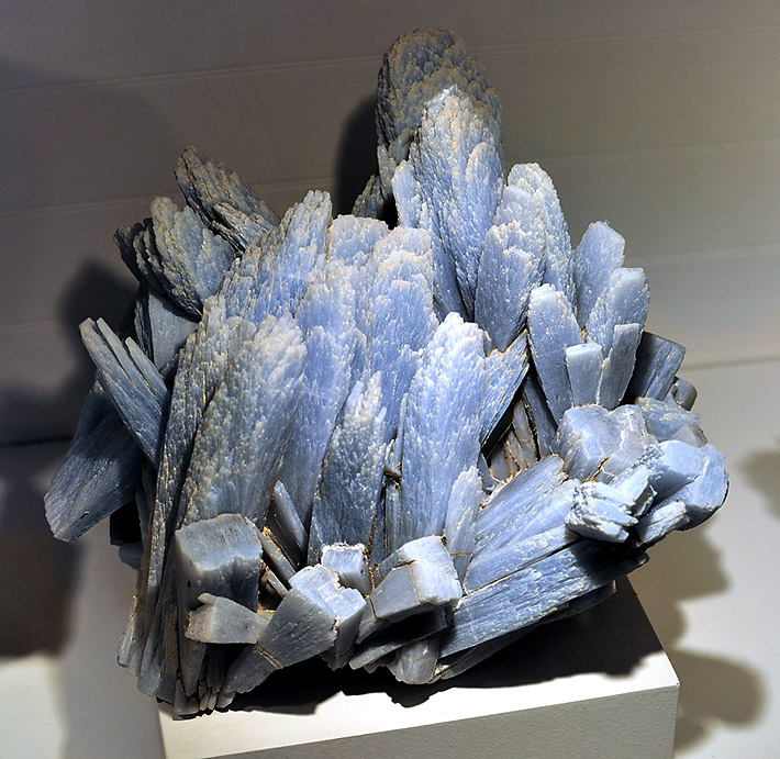 Cluster of well developed crystals of blue anhydrite from Naica Mine, Mexico