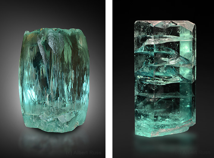 Huge gemmy aquamarine crystals from Brazil
