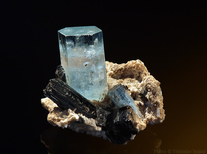 Crystals cluster of schorl and aquamarine from Erongo, Namibia