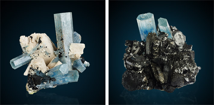 Crystal clusters with aquamarine, K-feldspar and amphibole from Erongo, Namibia