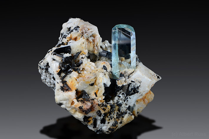 Gemmy aquamarine crystal on feldspar matrix from Pakistan