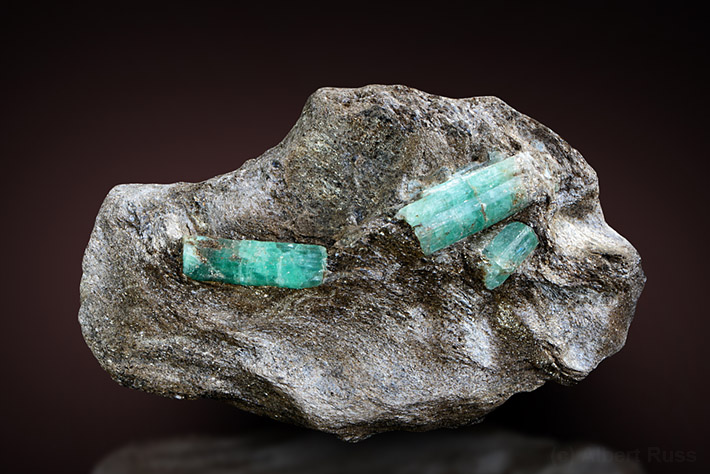 Emerald crystals in mica schist from Malyshevo, Russia
