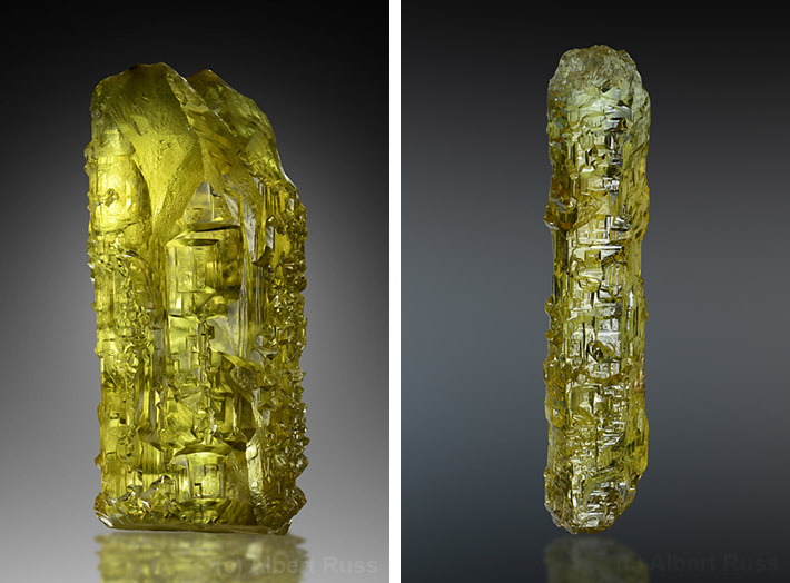 Golden heliodor crystals from Volodarsk-Volynskyi, Ukraine