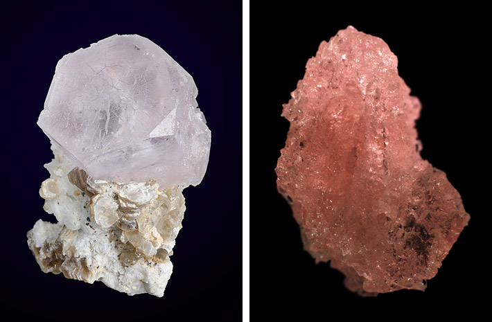Morganite crystal and etched morganite