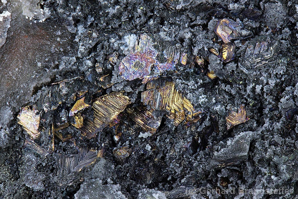 Crystalline mass of native bismuth from Pöhla, Germany