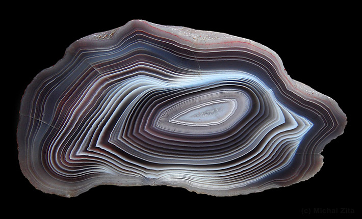 Agate from Botswana with dark and light bands