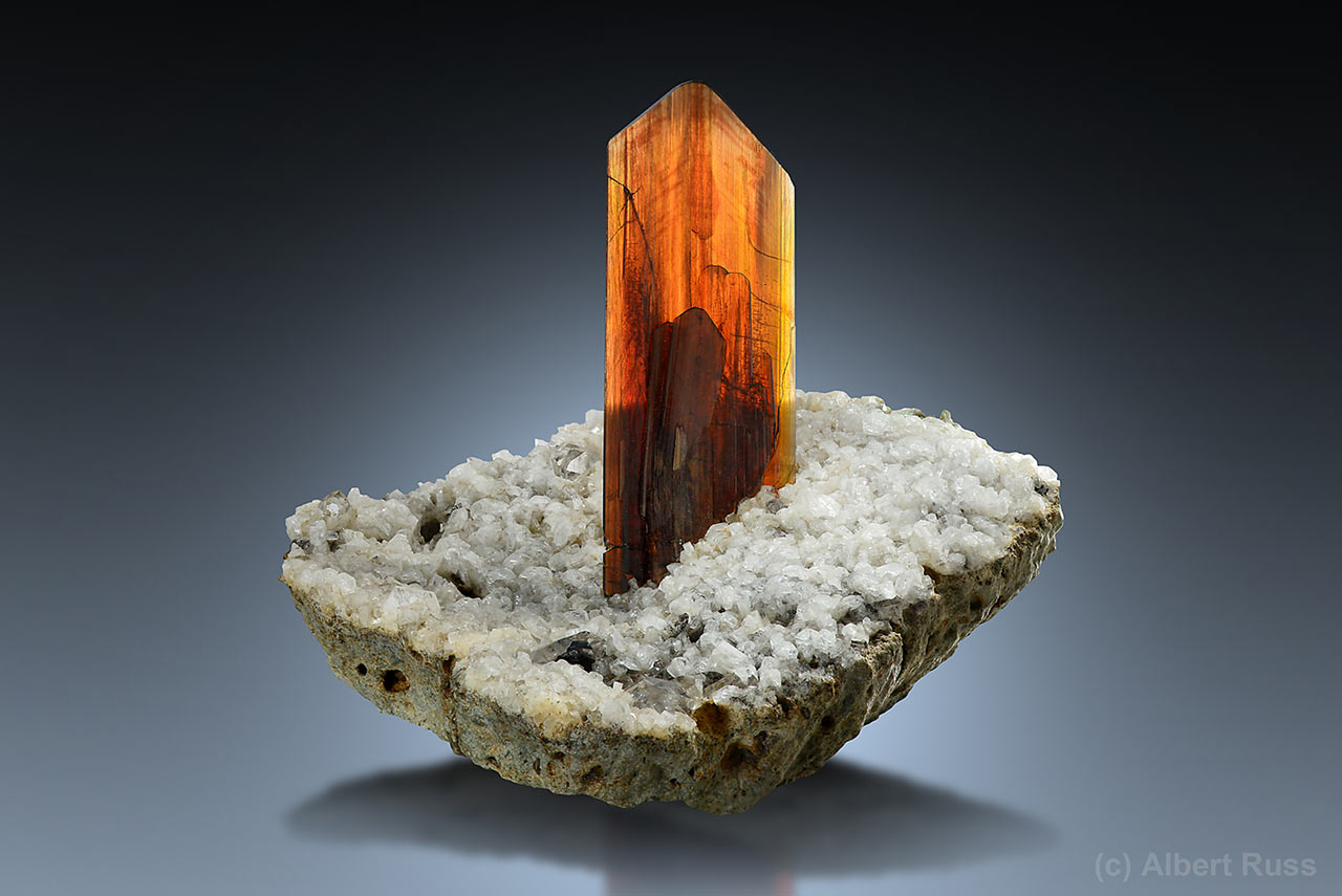 Perfect brookite crystal on albite from Khârân District, Balochistan province, Pakistan