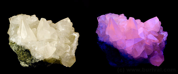 Calcite in daylight and pink fluorescence in UV-B black light