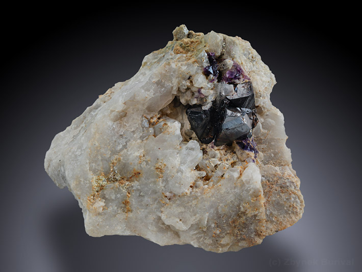 Cassiterite crystals with purple fluorite on quartz matrix from Huber stock, Krasno, Czech Republic