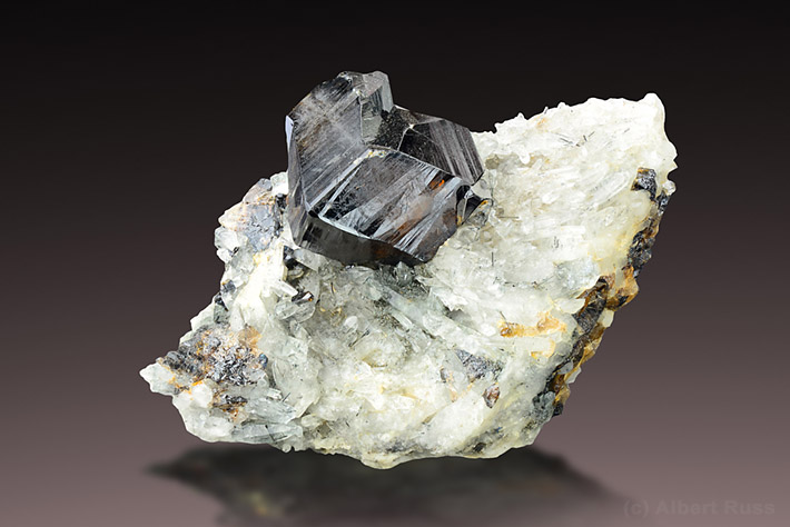 Cassiterite crystal on quartz matrix from Viloco Mine, Loayza, Bolivia