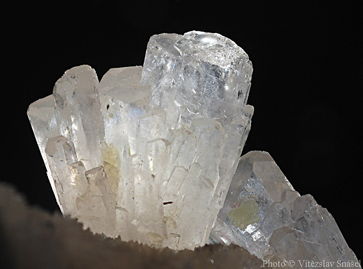 Detail of semi-translucent celestine crystal from Tarnobrzeg, Poland