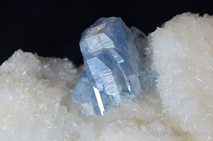 Blue celestine crystal on white gypsum matric from Spania Dolina, Slovakia