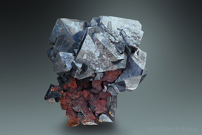 Cuprite crystals on native copper aggregate from Rubtsovsk, Russia