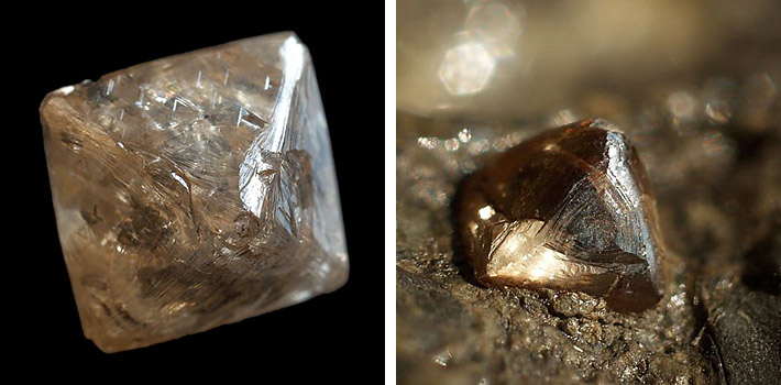 Historic specimens of natural diamonds from mines in Kimberley, South Africa