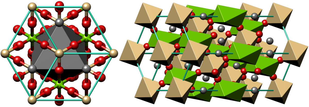 Drawing of the internal dolomite structure on atomic level