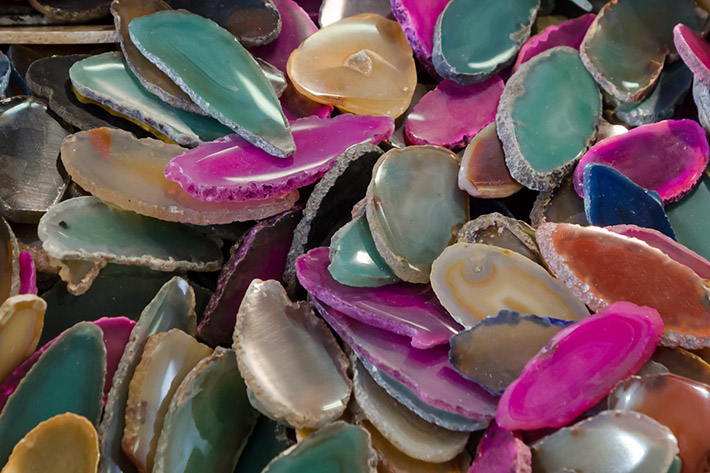 Artificially colored agate slices from Brazil