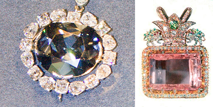 Famous huge faceted fancy diamonds - Hope Diamond and Daria-i-Noor