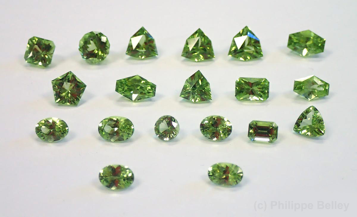 Faceted gemmy forsterite (peridot) from British Columbia, Canada