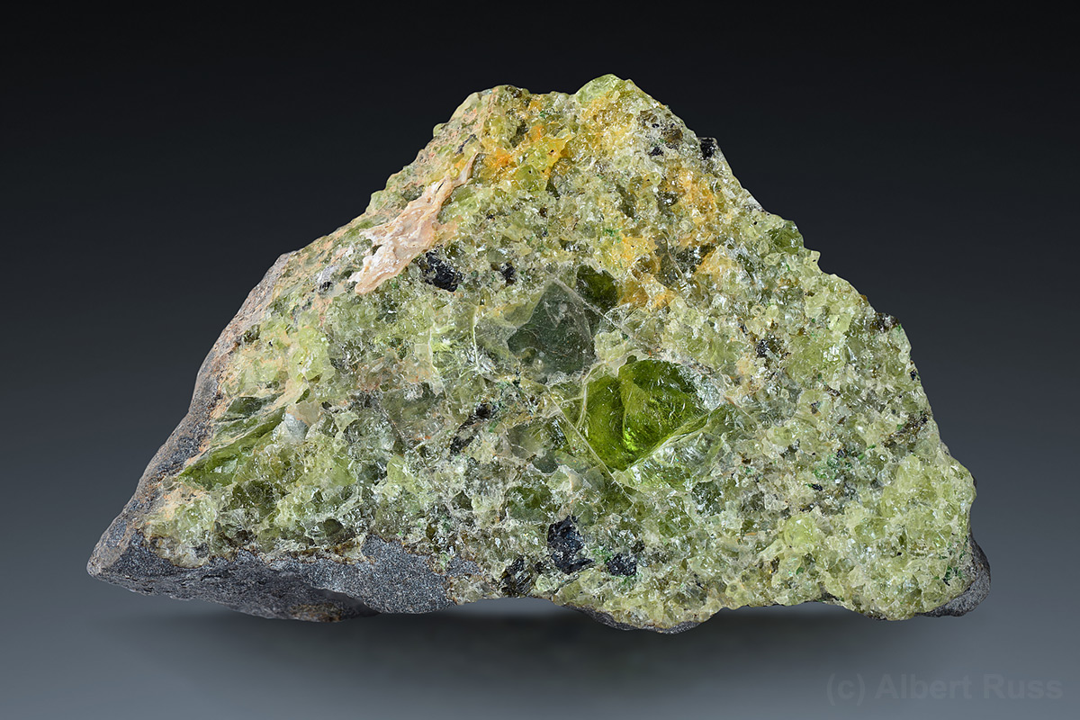 Aggregate of the green forsterite grains from Lanzarote, Canary Islands, Spain