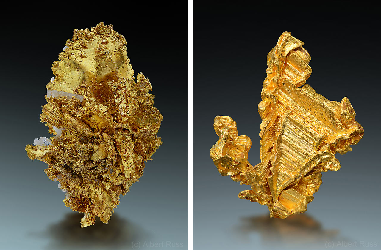 Crystallized native gold mineral specimens