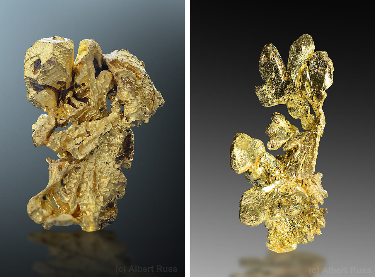 Natural native gold crystals