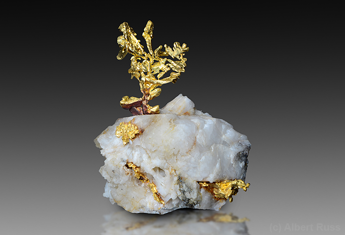 Crystallized gold on quartz from Eagle's Nest in California, USA