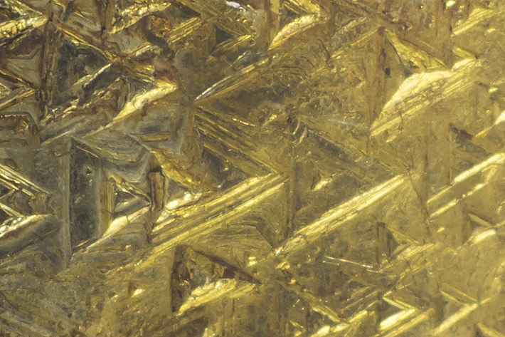 Detail of the native gold sheet from Křepice, Czech Republic