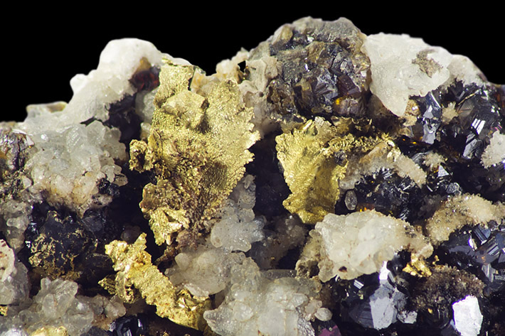 Gold and sphalerite crystals from Brad, Romania