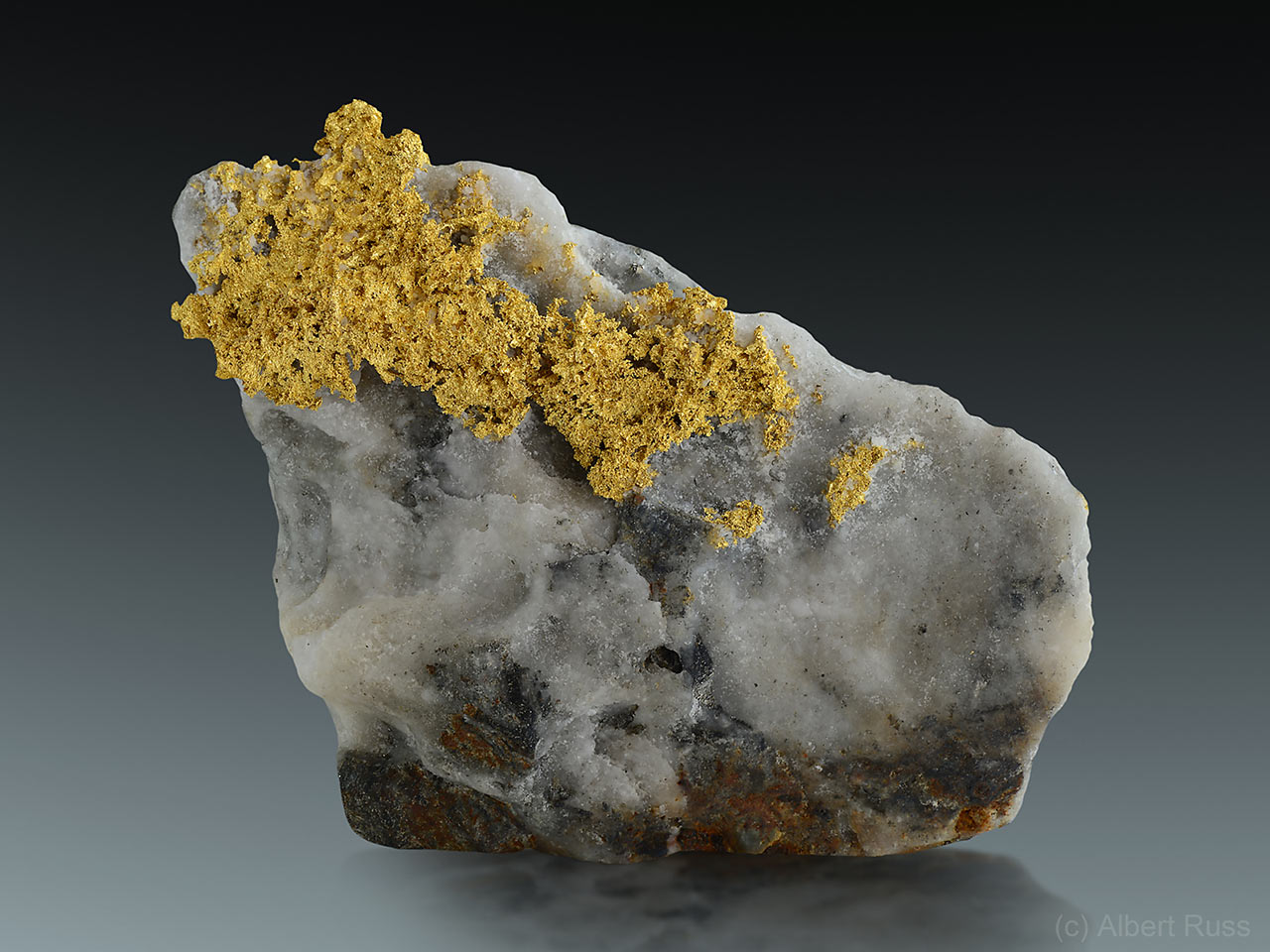 Native gold in quartz from  Italian Alps