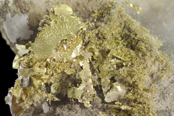 Detail of natural crystallized gold specimen from Kremnica, Slovakia