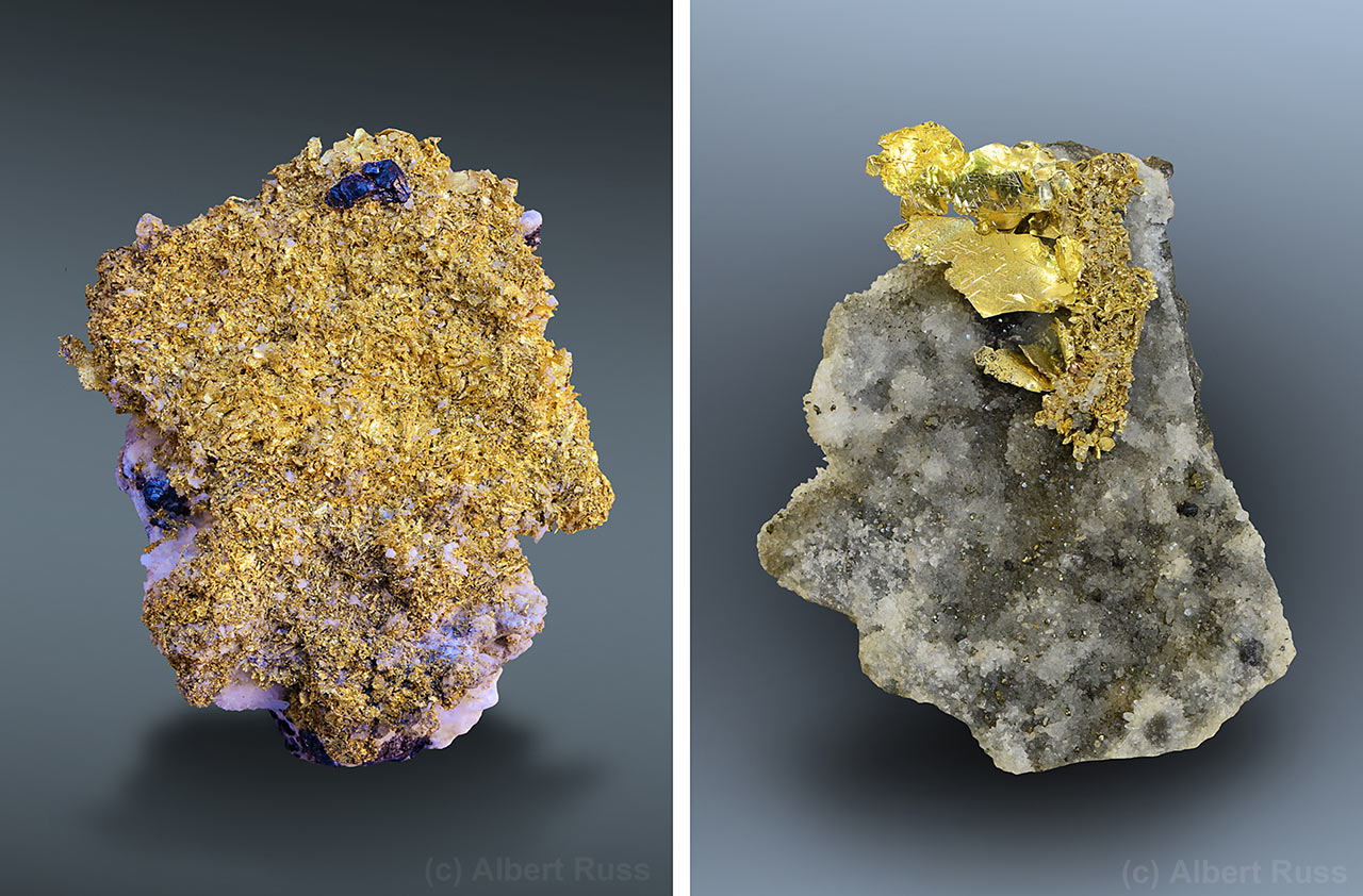 Native gold mineral specimens from Romania