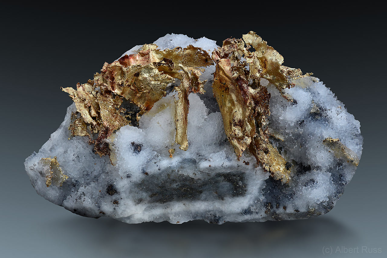 native gold on quartz mineral specimen from Verespatak, Romania