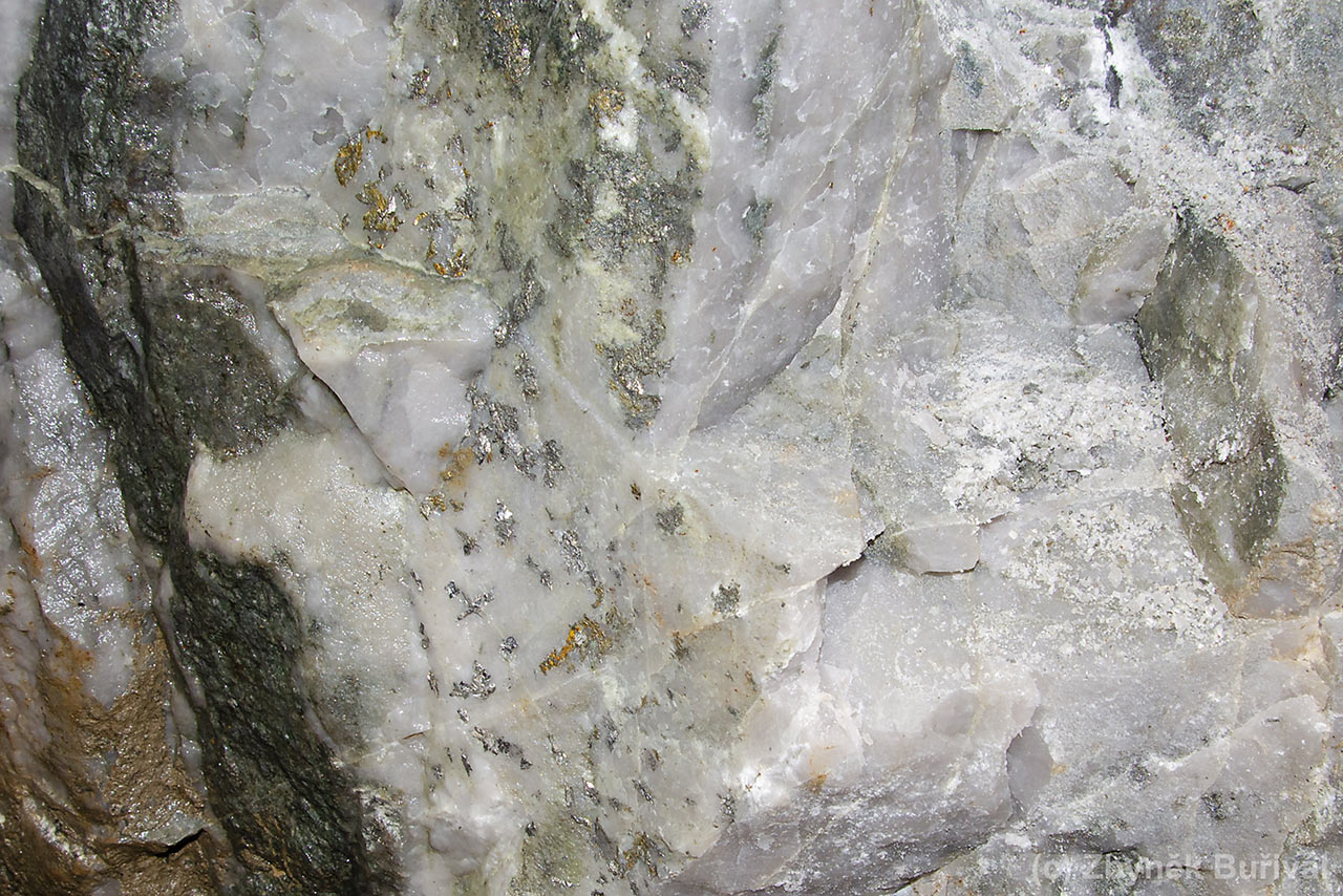 Quartz vein with arzenopyrite and gold at Mokrsko deposit, Czech Republic