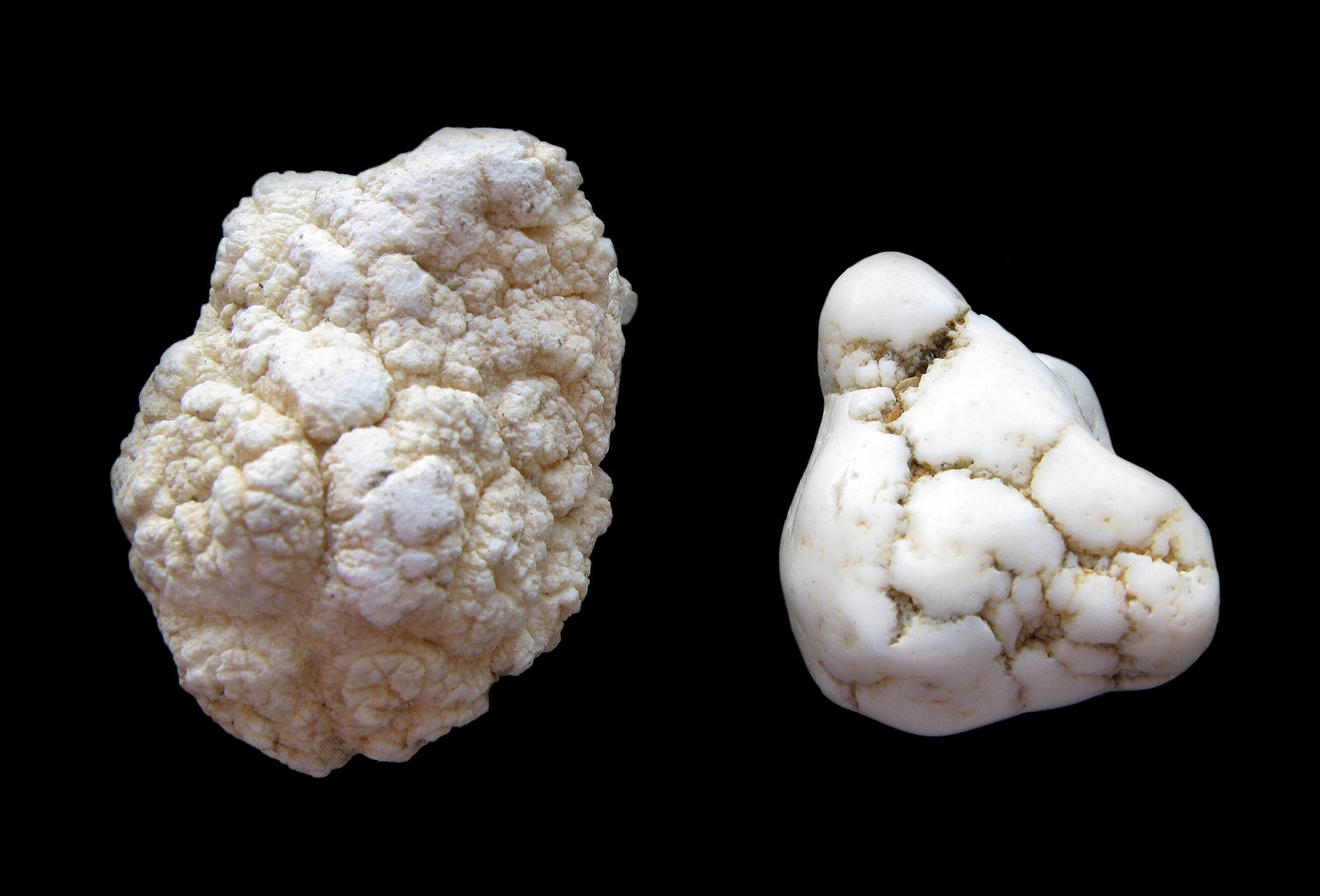 Rough and trommel processed magnesite nodules