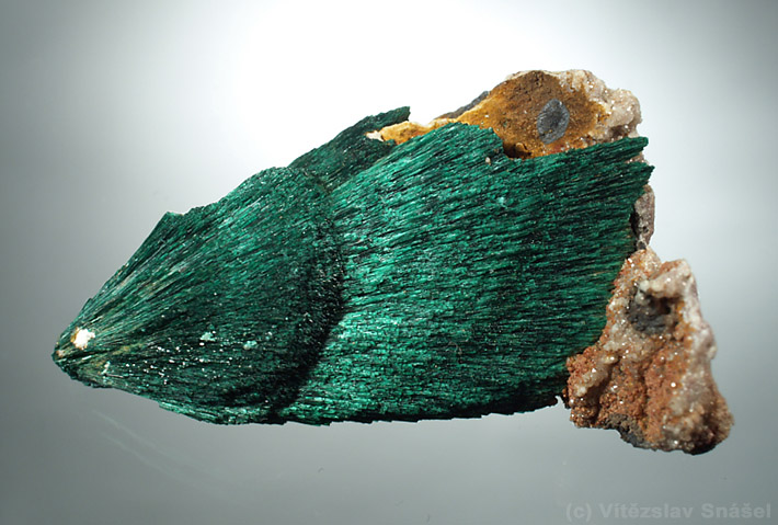 Spray of needle shaped green malachite crystals from Kerrouchen, Morocco