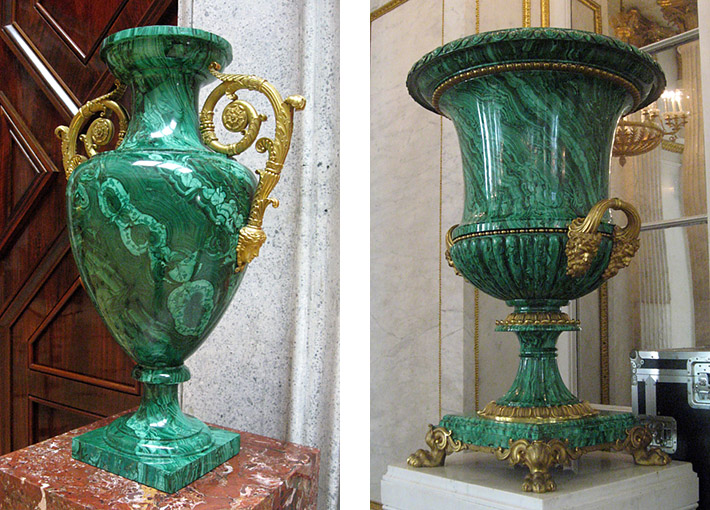 Huge neoclassical malachite vases displayed in the Hermitage Museum, Saint Petersburg