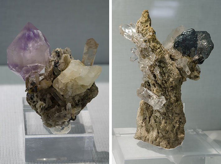 Amethyst and hematite crystals from Cavradischlucht, Switzerland