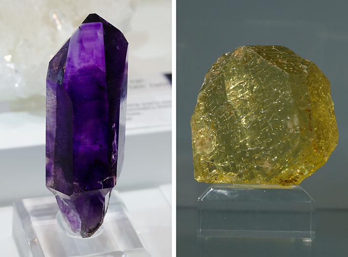 Amethyst from Goboboseb, Namibia and gemmy K-feldspar from Madagascar