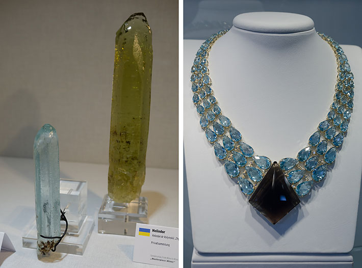 Rough and faceted aquamarine and heliodor from Volodarsk, Ukraine