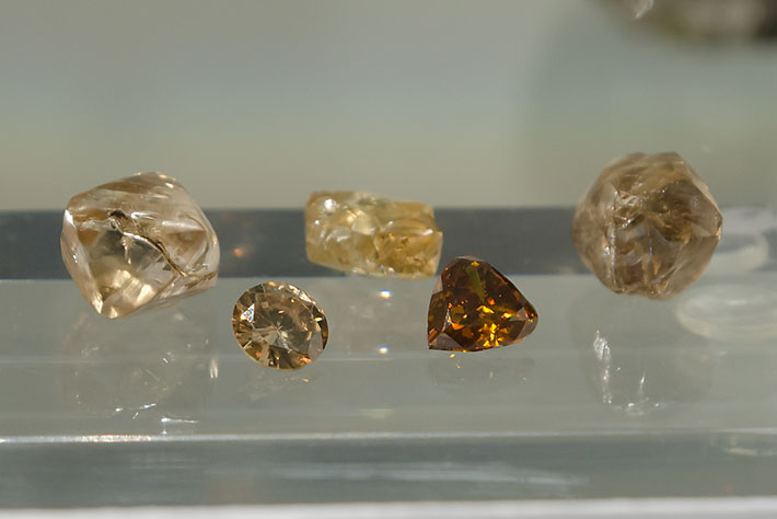 Rough and faceted diamonds from China