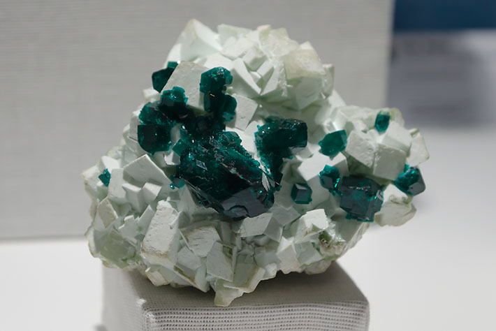Dioptase and calcite from Tsumeb, Namibia