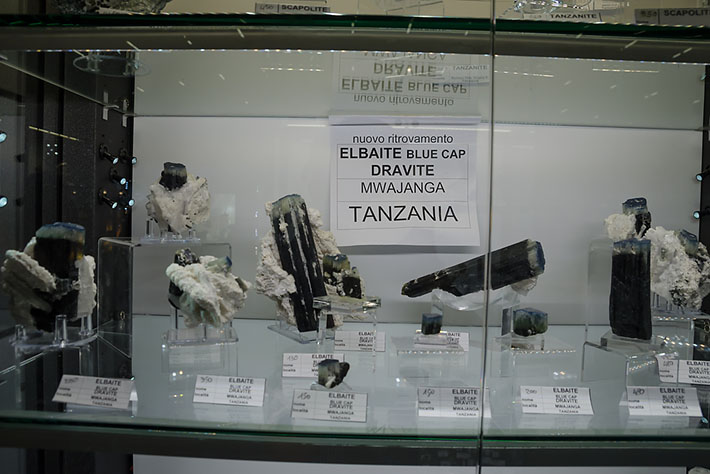 Dark tourmalines with blue caps from Mwajanga, Tanzania