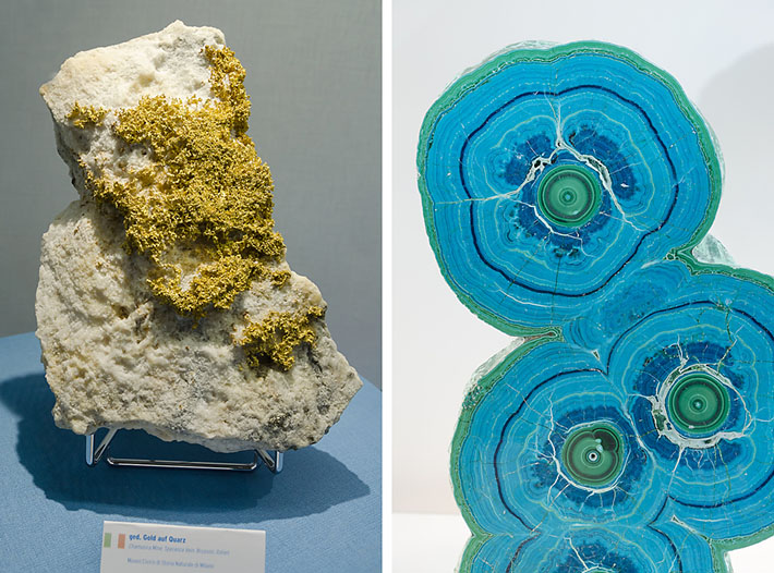 Gold from Brusson, Italy and layered malachite and azurite