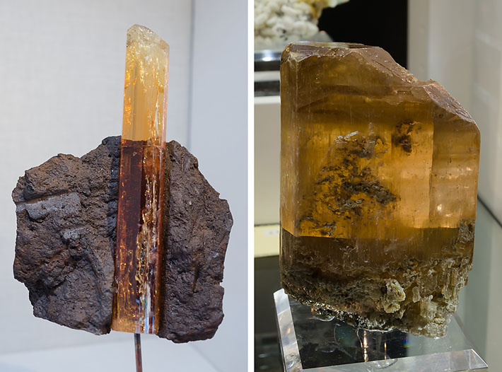 imperial topaz on matrix from Brazil and crystal of fosgenite from Sardinia, Italy