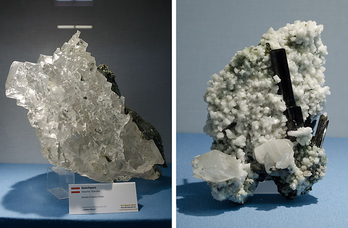 Skeletal quartz and epidote on albite from Hohe Tauern, Austria