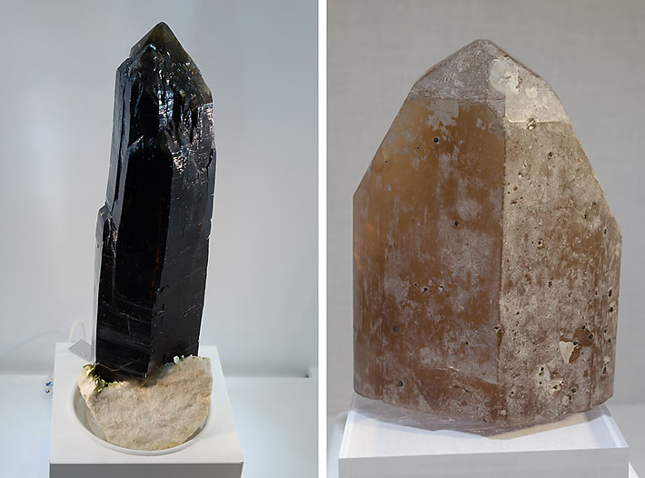 Dark smoky quartz and huge topaz from Volodarsk, Ukraine